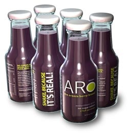 Aronia berry juice combined with some other fruit juices for sweetness; aronia berries are the highest antioxidant fruit you'll find!