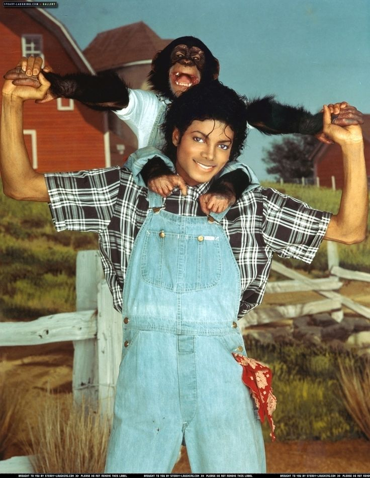 Thriller Era: Baby Blue Overalls with black, white and gray stripped shirt