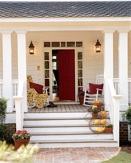 love the red door and the rocking chairs - this is so me!