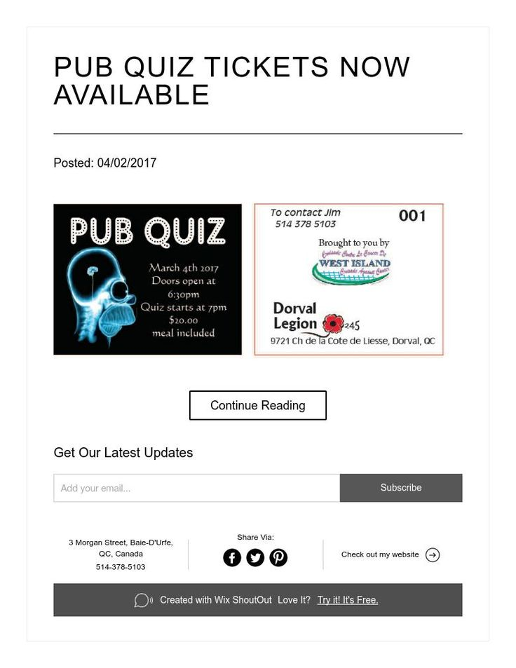 PUB QUIZ TICKETS NOW AVAILABLE