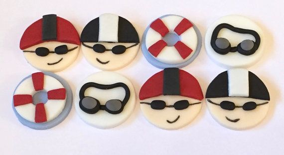 12 x edible icing Swimming themed Cupcake toppers cake decorations by ACupfulofCake on Etsy £14.50