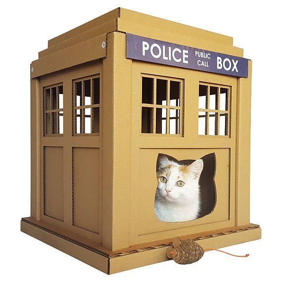 dr who tardis cardboard cat house unique cat furniture cat toy rh pinterest com