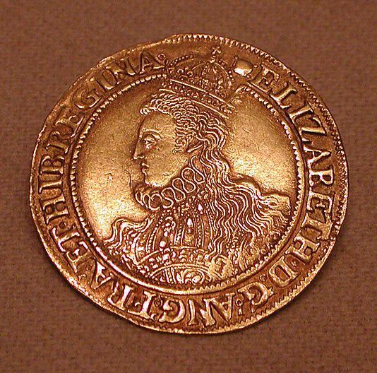 A gold coin of Queen Elizabeth I of England, featured at The Metropolitan Museum of Art in NYC.