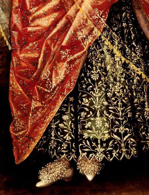 Portrait of a Lady, Called Elizabeth, Lady Tanfield, 1615. Detail.