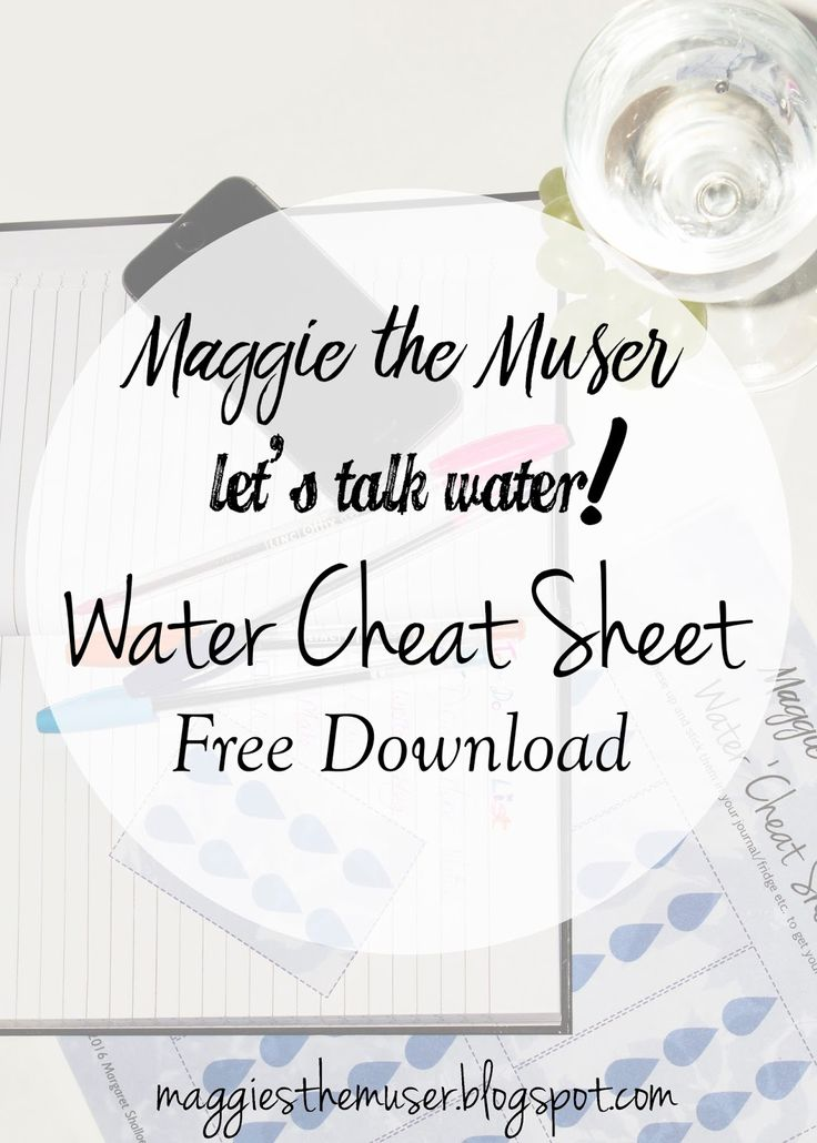 Let's talk about water! Download my personally designed water cheat sheet, allowing you to get your recommended water intake easily! Free printable!