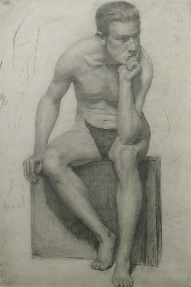 LS Lowry: Seated Male Nude 1914