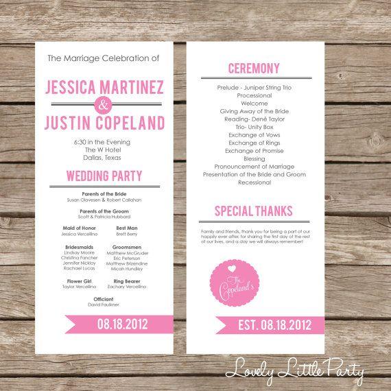 25+ best ideas about Wedding programs simple on Pinterest   Fun ...