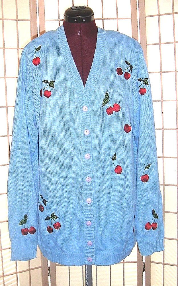 Quacker Factory Sz L Blue Knit Cardigan Sweater W/ Beaded Red Cherry