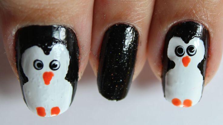 Unhas filha única de Pinguim (Bichinho, Desenho) Penguin Nail Art (cartoon)