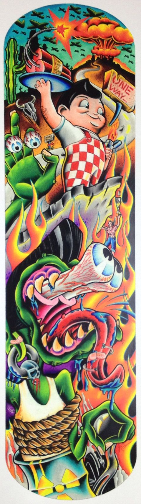 Unique Rat Fink Style Skateboard Print by SkullsNdollsSociety