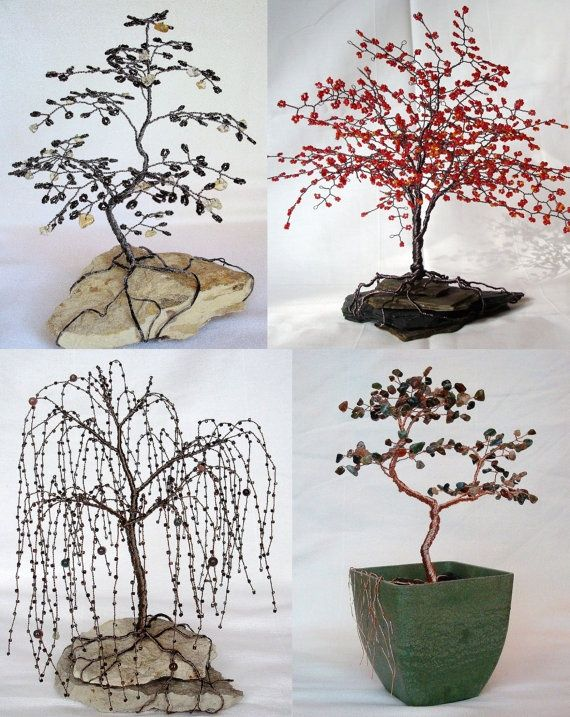 beaded wire tree | Weeping Willow Beaded Bonsai Wire Tree ... | Jewelry Creation Inspira ...