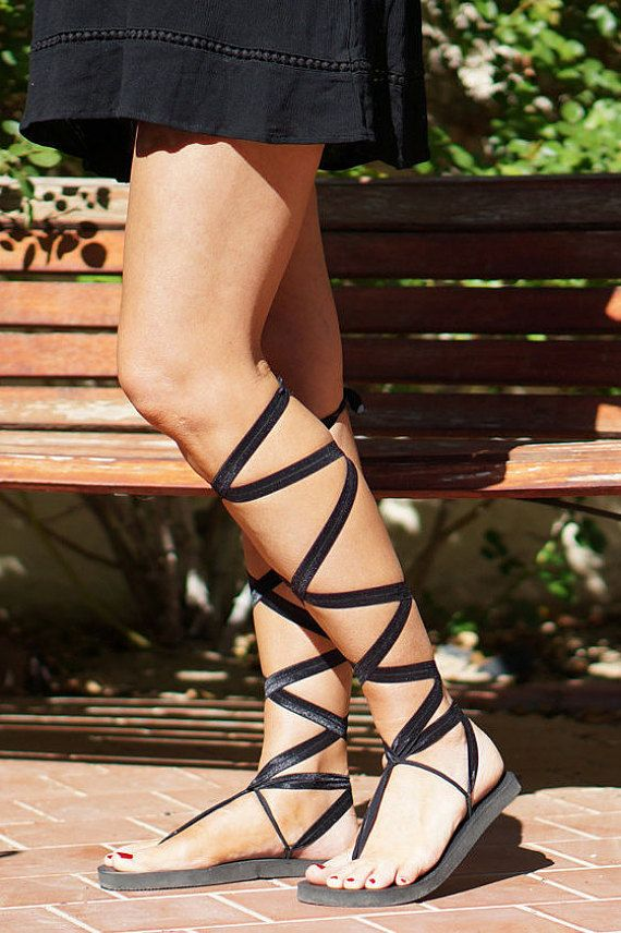 Knee High Lace Up Gladiator Sandals in Black by Chrysandals