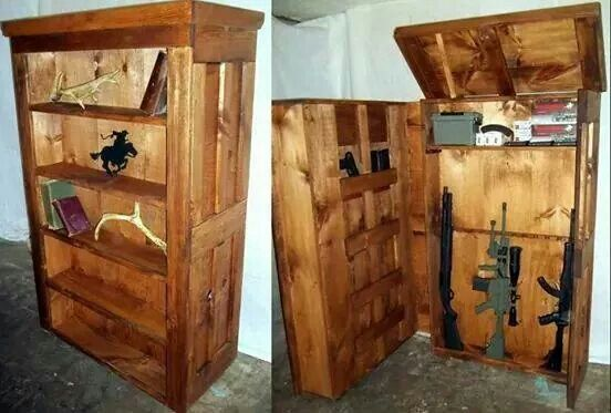 Great Hideaway For Essentials ☢☣zombie Apocalypse☣☢ Pinterest Bookcases Guns And Storage