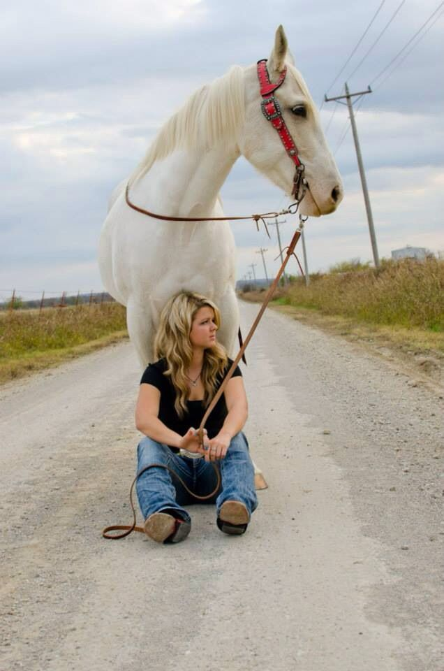 Country senior portrait with horse. Pretty sure my horse would walk on me on purpose.