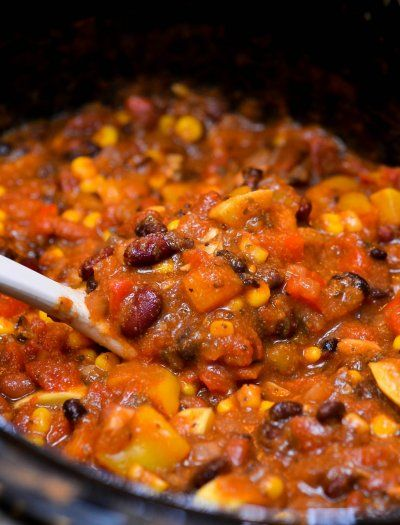 A variety of vegetables, a rich tomato base, and just the right amount of spice make this vegetarian chili especially delicious. My mom's favorite food is any thing that's packed with vegetables. The more veggies, the better! She loves her pizza piled high with more vegetables than you could even imagine, Pasta e Fagioli Soup, …