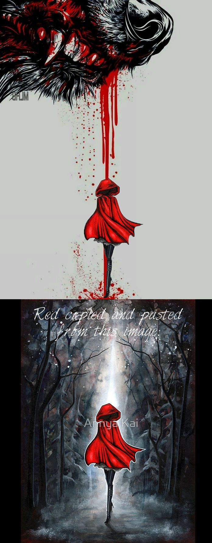 Red Riding Hood tattoo. This is just a mockup made from two images I found on google. I love the idea of the blood dropping to 'become' Red.