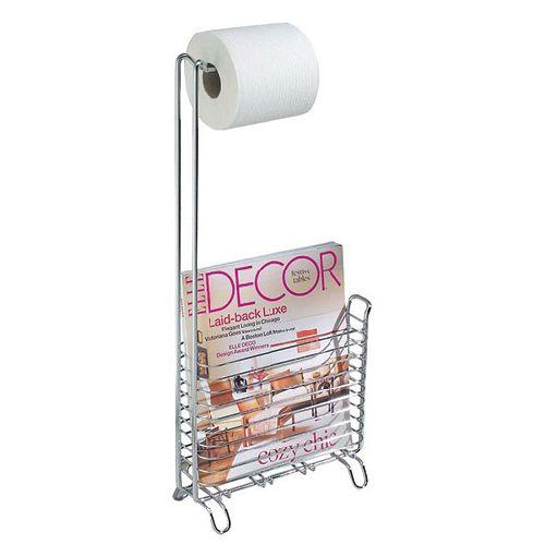 Pedestal toilet paper holder with magazine holder