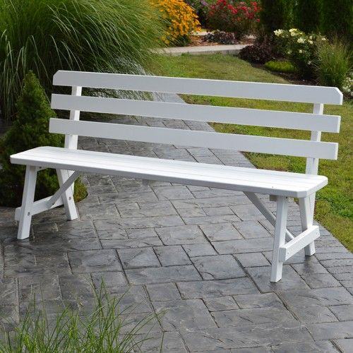 A L Furniture Co Traditional Backed Outdoor Bench With Images