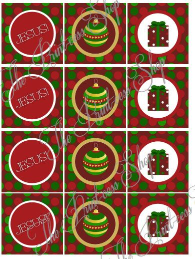 Christmas Happy Birthday JESUS Cupcake Toppers & Banner by ThePrintcessShop, $8.00