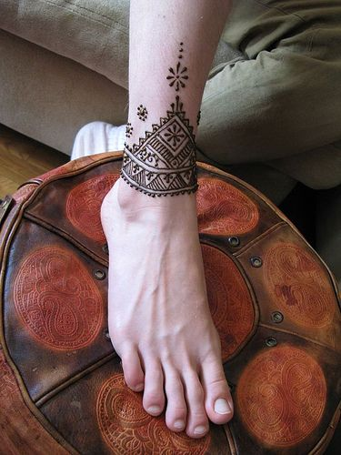 north african patterned henna foot
