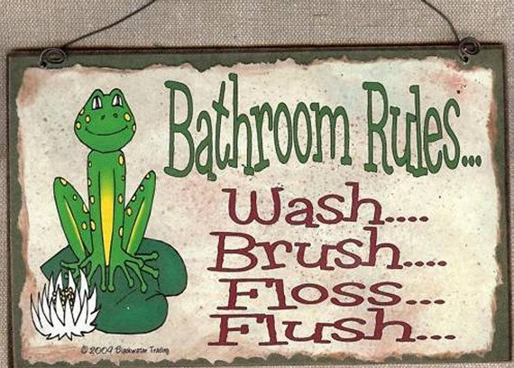FROG Bathroom Rules Wash Brush Floss Flush By Blackwatertradingco, $5.95