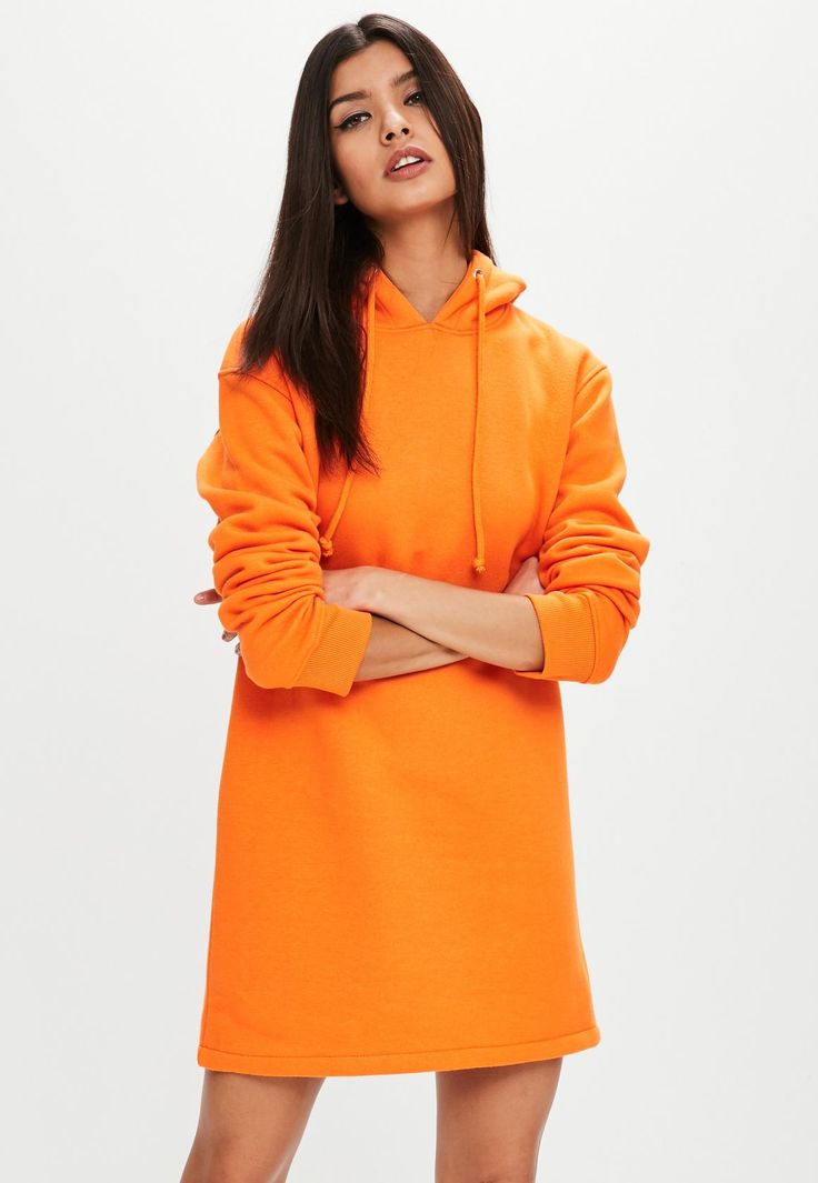 Missguided - Orange Long Sleeve Hooded Sweater Dress