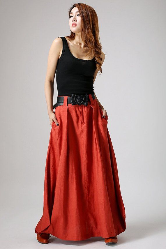 Maxi skirt, orange skirt, boho skirt, linen skirt, long skirts for women, lagenlook skirt, skirt with pockets, custom made skirt, gifts 896 – Marion Udri