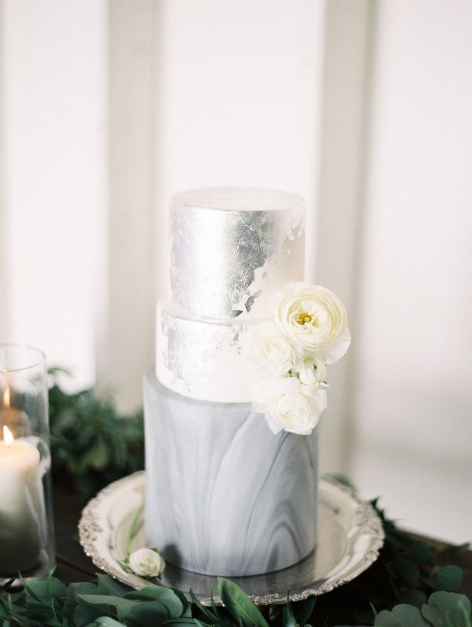 Silver leaf + marble wedding cake: http://www.stylemepretty.com/california-weddings/los-angeles/2016/05/16/this-pretty-pastel-wedding-dress-will-make-you-reconsider-white/ | Photography: Mallory Dawn - http://www.mallorydawn.com/