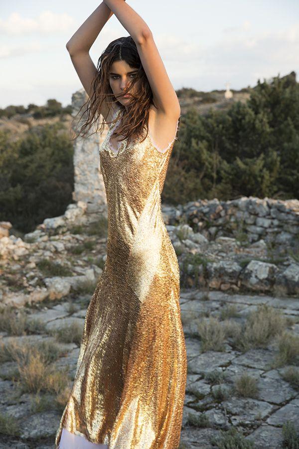 DR8195 'a wild soul' dress in gold silk #nevenka #madeinmelbourne #silk #gold