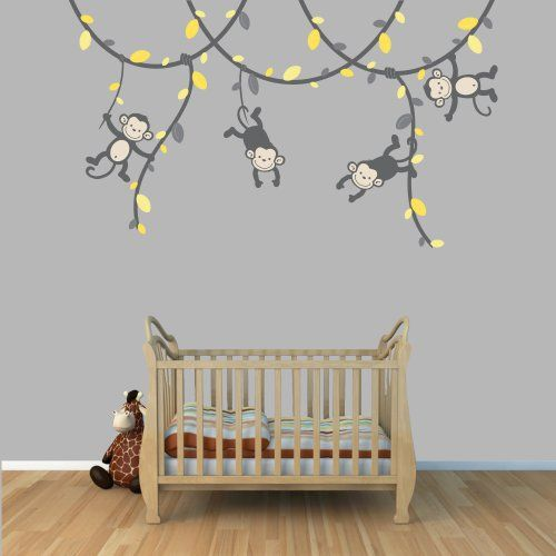 Best Above The Cot Decor Images On Pinterest Kids Wall Decals - Wall decals kids roomcartoon monkey climbing flower vine wall decals kids room nursery