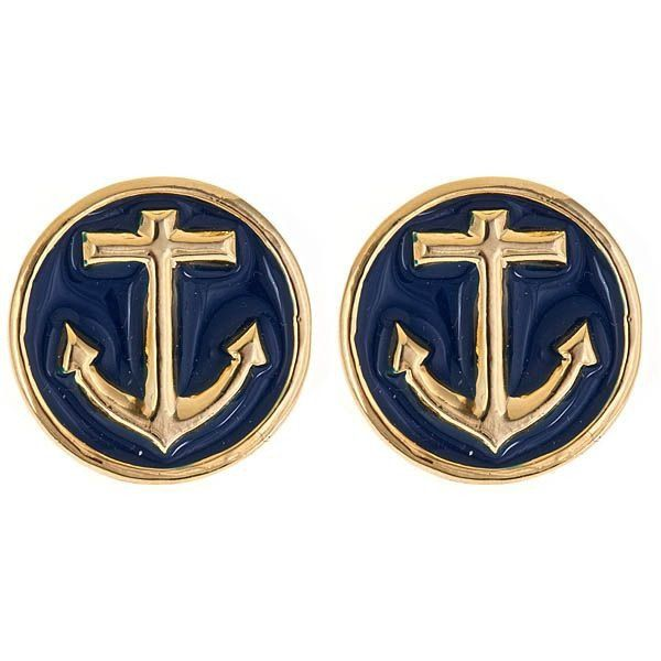 Enamel anchor charm stud earrings. Our Anchor Earrings are classic nautical cool with their rich gold anchor and classic navy. Great...
