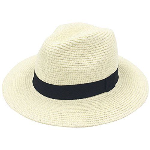"Women Wide Brim Straw Panama Roll up Hat Fedora Beach Sun Hat UPF50+ Features •""Lanzom"" brand registered, all rights reserved. •Breathable Cotton, soft and comfortable to wear •Exquisite workmanship and neat stitching •Packable design for easy carring and storage when not in use •Free s..."