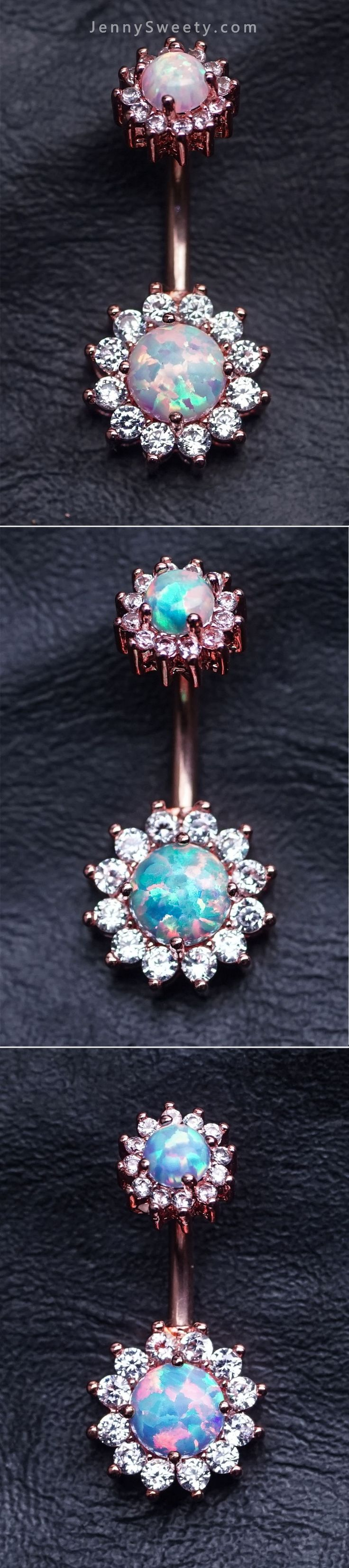 opal belly ring  Come From JennySweety
