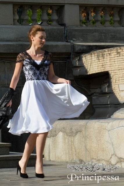 Signature Blackandwhite Lace and Voile Dress by PrincipessaLabel, $135.00