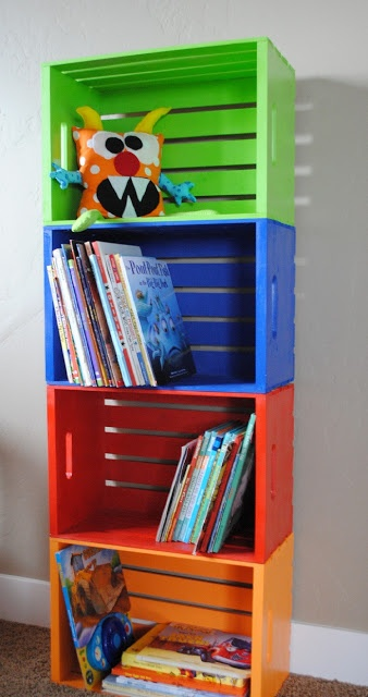 DIY Bookshelf made from wooden crates Look for them at HD cheaper and the sample paint their brand..1 per crate --sand prior to painting..use liquid glue Need gloss finishing spray
