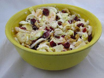 Voedselzandloper-proof: Salade van rauwe witlof met cranberries en walnoot