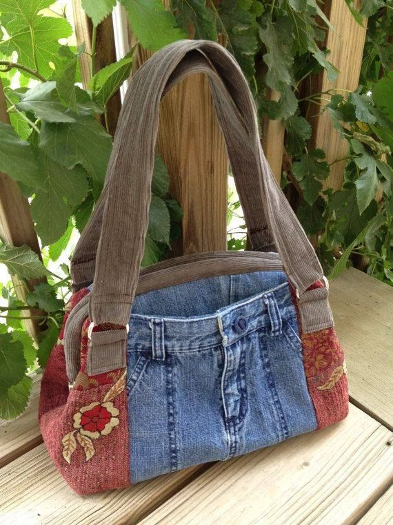 OOAK Denim Tapestry and Corduroy Large Country Handbag Purse with Hinged Closure