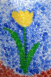 Preschool Painting & Drawing Activities: Paint Like the Pros Using Pointillism!  Make dots with Q-tips as your painting.  To do with grandchildren.
