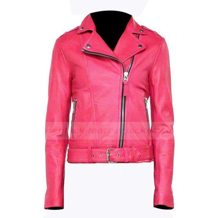 Womens Hot Pink Leather Biker Jacket