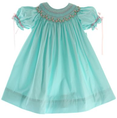 Girls Smocked Easter Dress with Ribbon Sleeves Royal Child