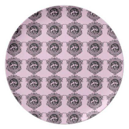 three women pink dinner plate - retro kitchen gifts vintage custom diy cyo personalize