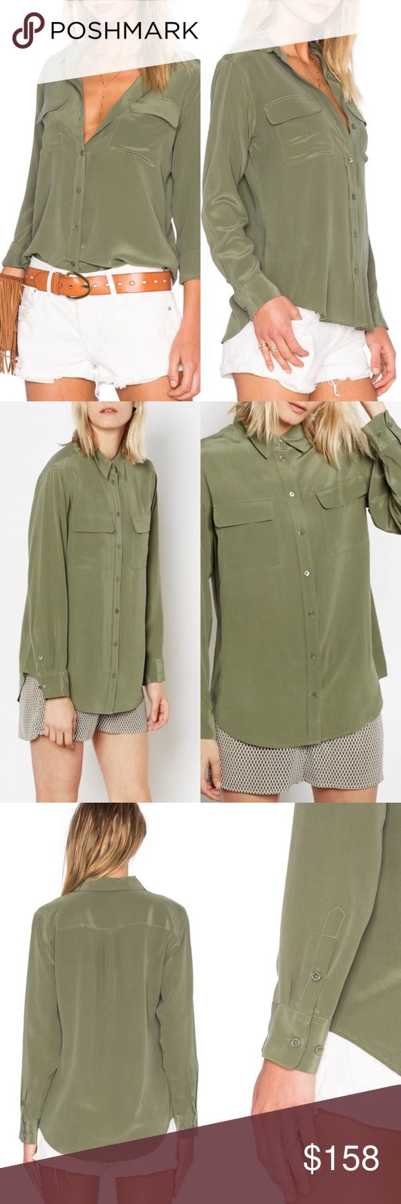 NWT Equipment Olive Green Silk Top Inspired by Equipment's archived original from the '70s, their Signature Shirt is a timeless classic. Oversized with two front pockets, the Signature is a versatile wardrobe staple that works just as well tucked into a pencil skirt as it does untucked with a pair of jeans. Slightly oversized.  Details:  100% silk. Dry clean. Imported. No trades; price firm - this item is new with tags. Equipment Tops Blouses