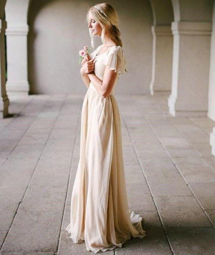 Wedding Dresses, Chiffon Wedding Dresses, Beach Wedding Dresses, Short Sleeve Wedding Dresses, Country Wedding Dresses