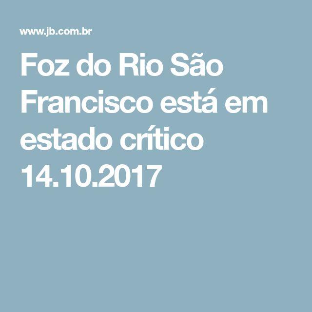 Foz do Rio São Francisco está em estado crítico  14.10.2017