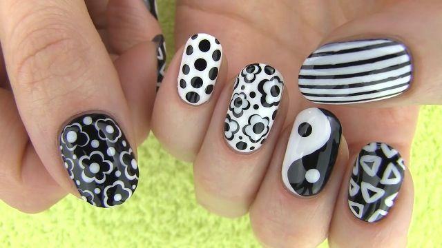 Credit to~ sarabeautycorner Black and white nails