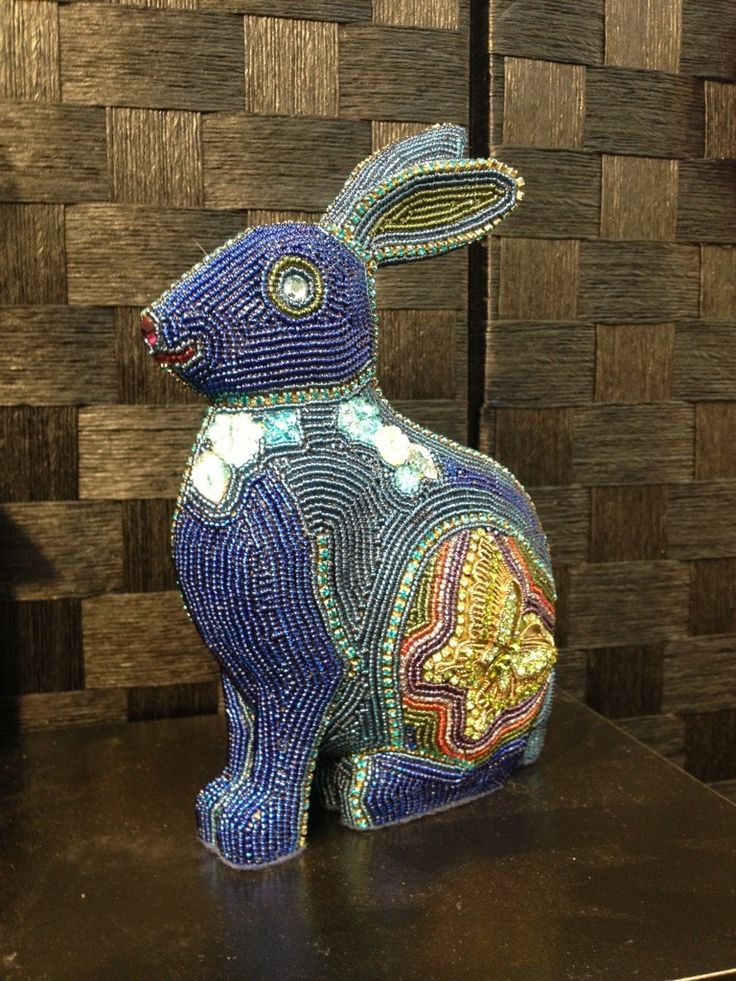 Rabbit by Tom and  by Kathy Wegman - Bead mosaic (glass seed beads and accent beads glued to form)