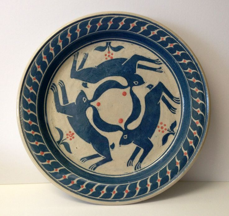Starfall Pottery - 'Three Hares' plate - Customs House Gallery - Porthleven