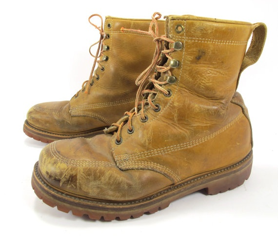 vintage land rover work boots lineman vibram soles size 10. Black Bedroom Furniture Sets. Home Design Ideas