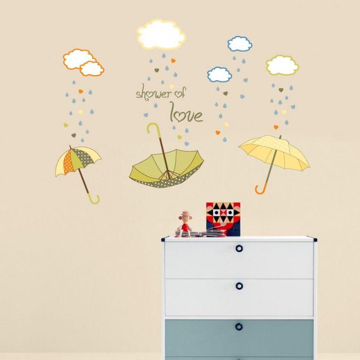 Βρέχει αγάπη! Φοβάται κανείς τη βροχή;  Τέλεια πρόταση διακόσμησης από το Creative Printing! http://www.cforcrafts.com/products/paidi/diakosmitika/lianiki/aytokollito-shower-love