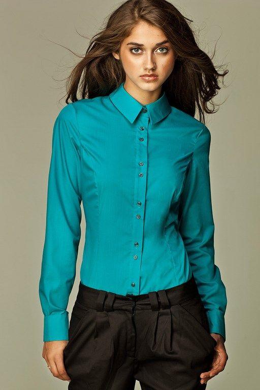 Oryginalna koszula damska w lazurowym odcieniu